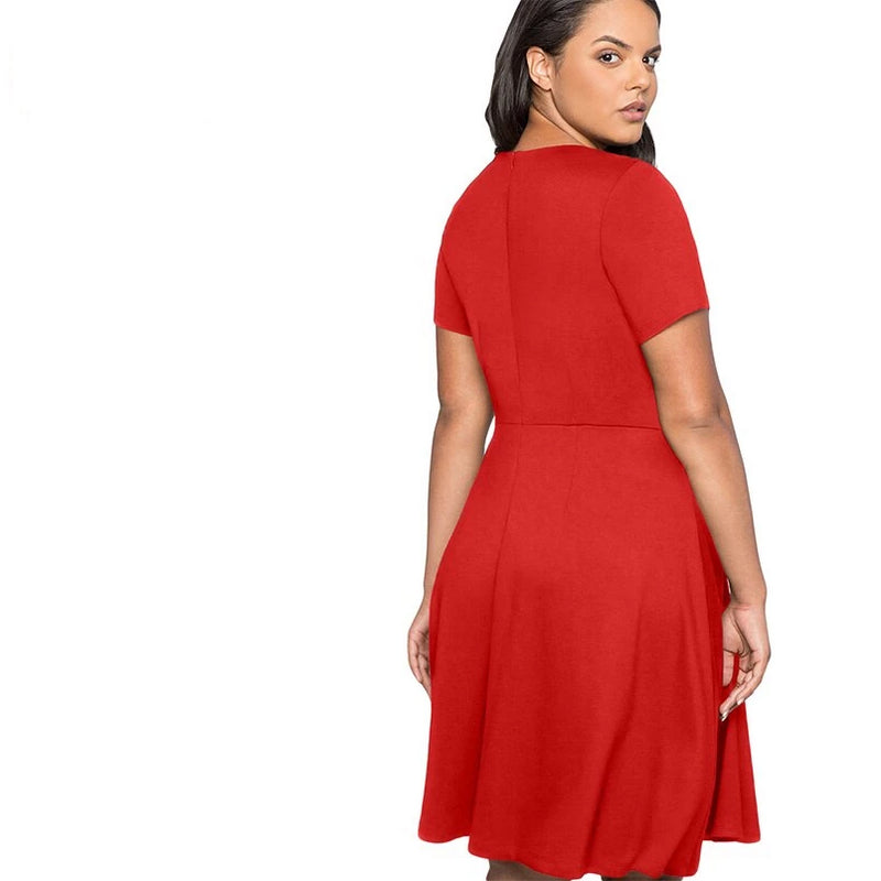 Plus Size Elegant Party Dress Button