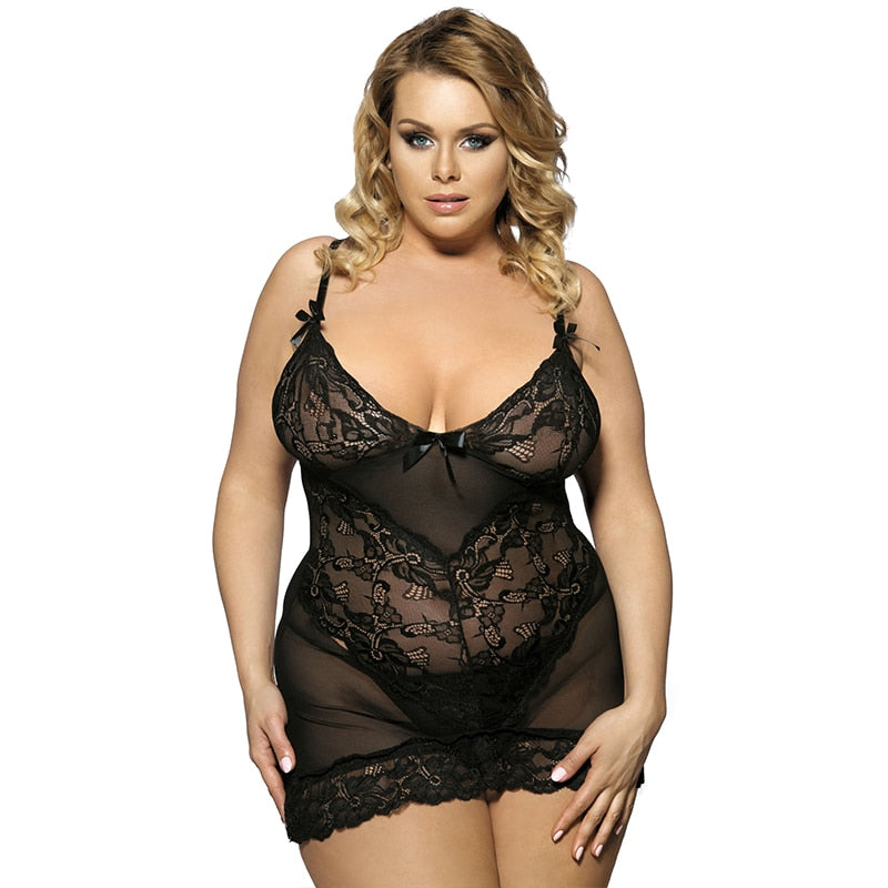 5XL 7XL Plus Size Women Erotic Dress With G string R70218