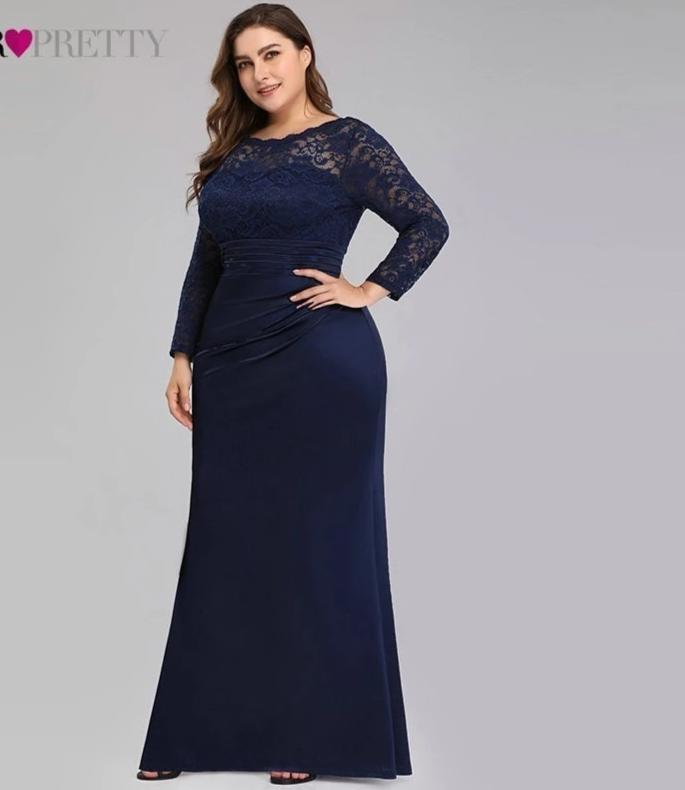 Plus Size Evening Long Sleeve Mermaid Formal Party Dresses