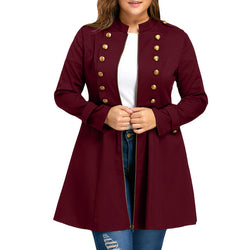 Plus Size Double Breasted Flare Long Winter Cardigan Trench Coat