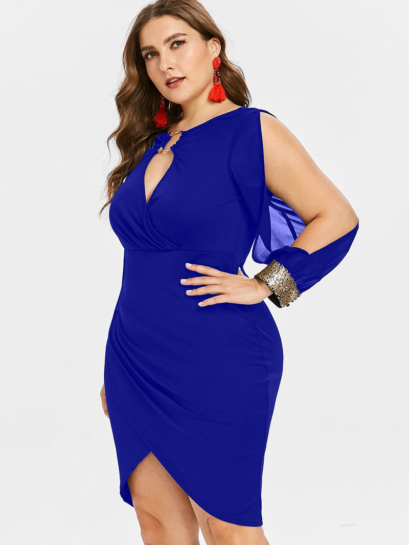 Women Keyhole Neck Sequined Slit Bodycon Plus Size Dress