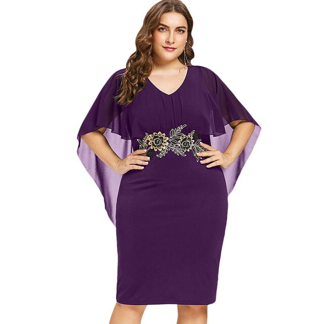 Plus Size Rhinestone Ruched Embellished Capelet  Neck Sleeveless Women Dresses