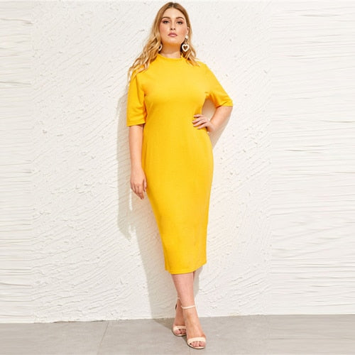 Classy Yellow Plus Size Mock-neck Solid Pencil Slim Dress