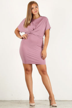 Plus size solid, bodycon dress with a round neckline and back tie