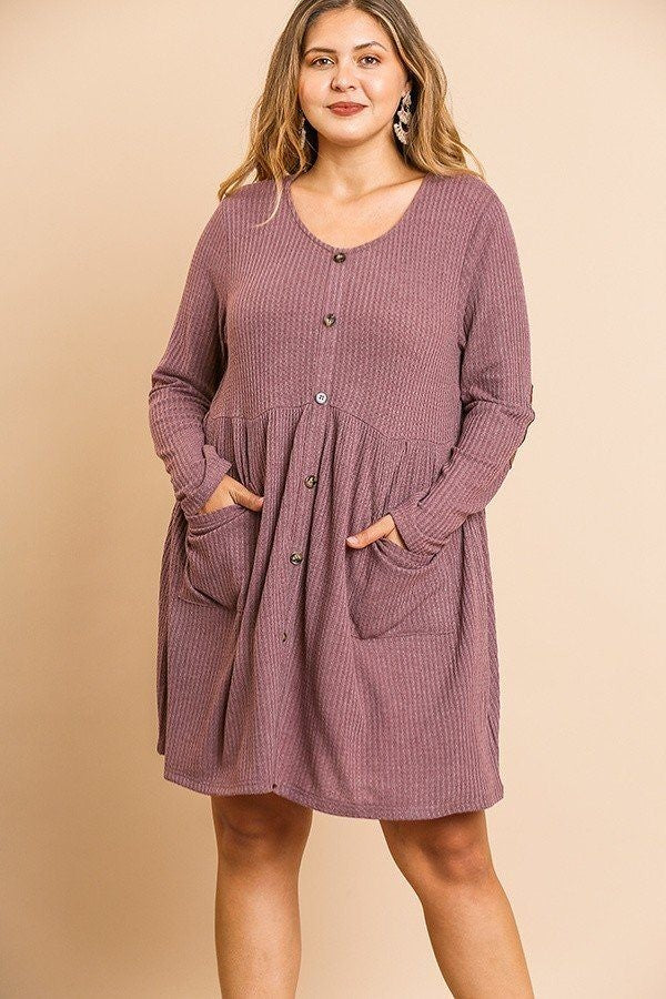 Waffle knit long sleeve round neck faux button front babydoll dress berry