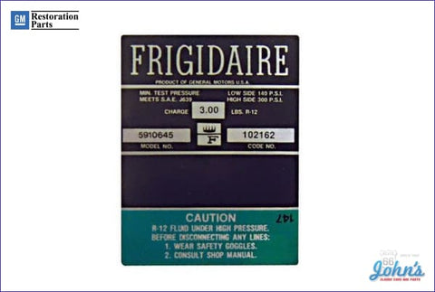 Ac Compressor Frigidaire Decal- Green A F1
