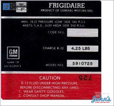 Ac Compressor Frigidaire Decal- Red #6550133 F1
