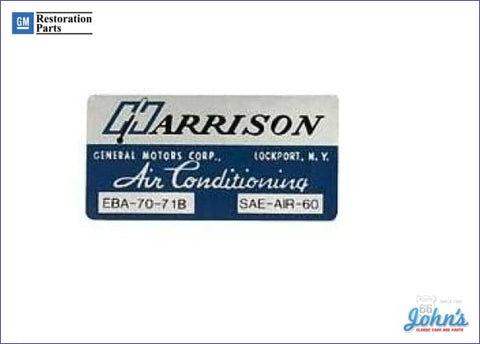 Ac Evaporator Box Decal- Harrison A F2 X