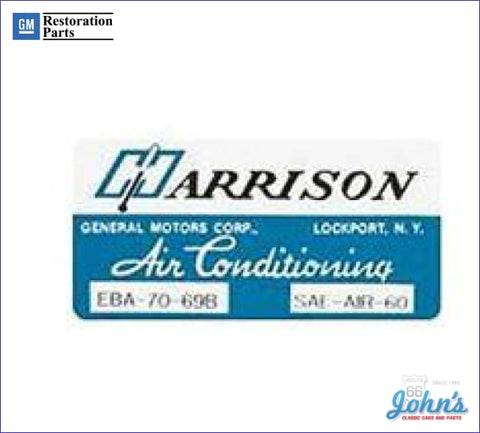 Ac Evaporator Box Decal- Harrison A X F1