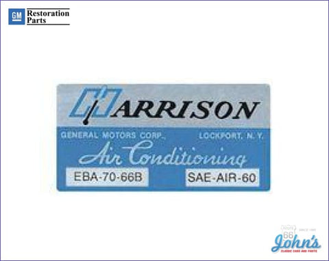 Ac Evaporator Box Decal- Harrison A X