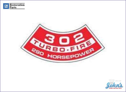 Air Cleaner Decal 302 Turbo-Fire 290Hp F1