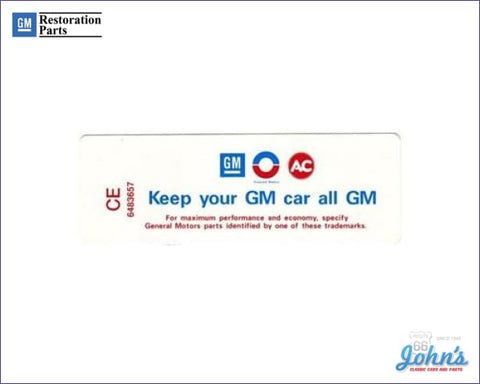 Air Cleaner Service Instructions Decal 230 250 With Smog Control Keep Your Gm Car All A