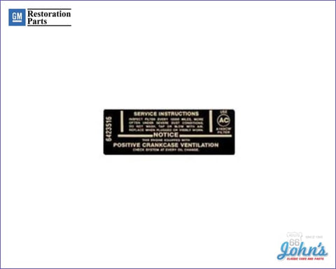 Air Cleaner Service Instructions Decal 250/155Hp. F1 X