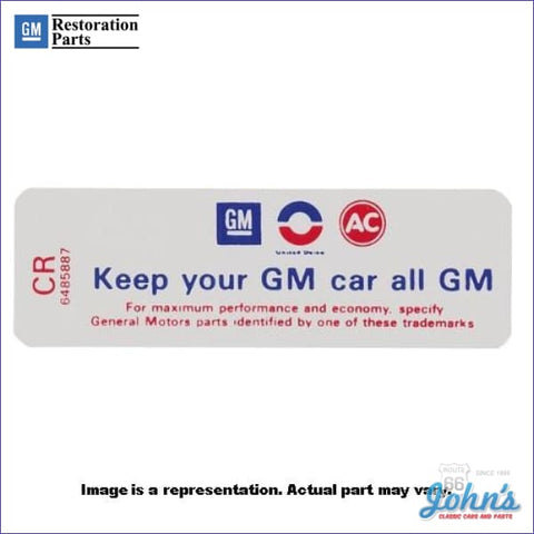 Air Cleaner Service Instructions Decal 250/155Hp. Keep Your Gm Car All X