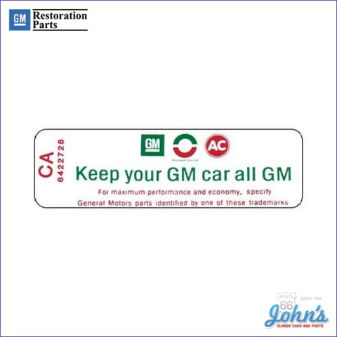 Air Cleaner Service Instructions Decal- 307 Keep Your Gm Car All Decal A F1