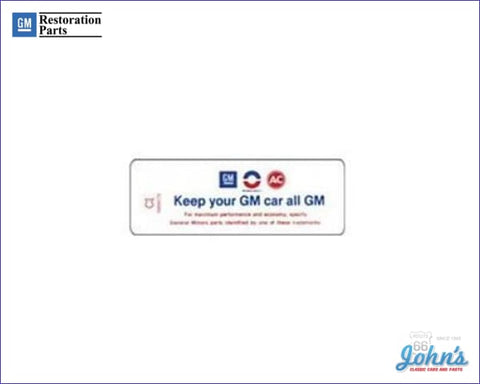 Air Cleaner Service Instructions Decal 307. Keep Your Gm Car All Gm. A F2