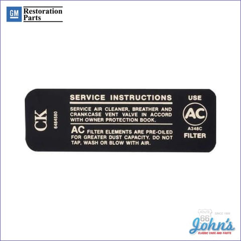 Air Cleaner Service Instructions Decal- 307/200Hp F1