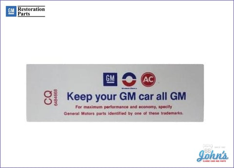 Air Cleaner Service Instructions Decal 350/250-255Hp Keep Your Gm Car All A