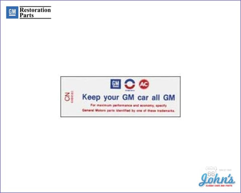 Air Cleaner Service Instructions Decal 350/255Hp. Keep Your Gm Car All F1