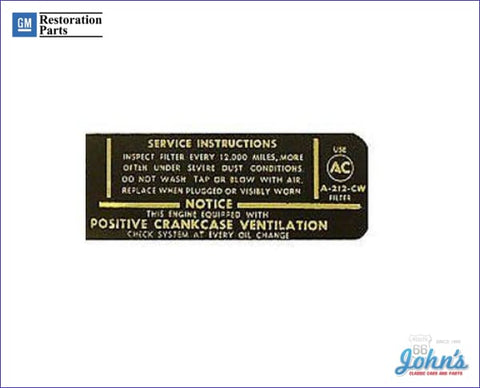 Air Cleaner Service Instructions Decal For 396 A