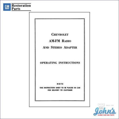 Am/fm Stereo Adapter Operating Instructions A F1