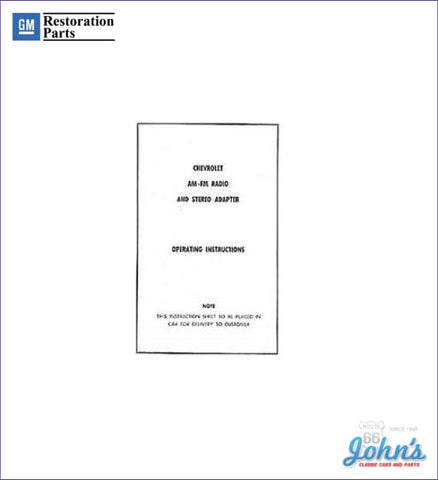 Am/fm Stereo Adapter Operating Instructions A