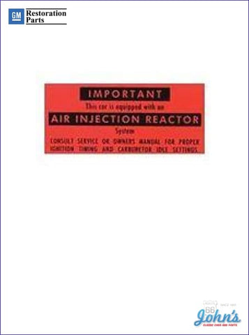 California Air Injector Reactor Decal A X F1