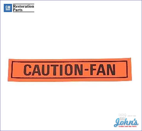 Caution Fan Decal- Orange And Black A X F1 F2