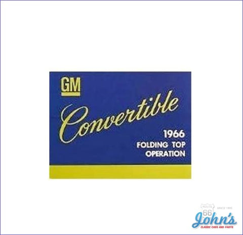 Convertible Top Owners Manual A