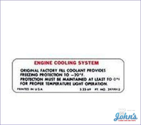 Cooling System Warning Decal A F2 X