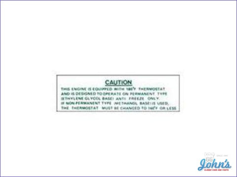 Cooling System Warning Decal A X F1
