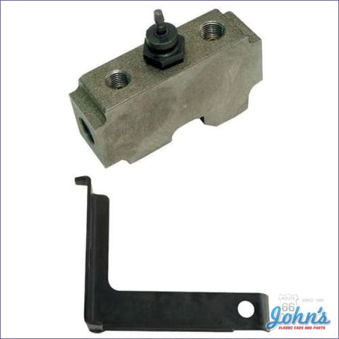 Distribution Block With Switch Mounts Under Master Cylinder Factory Drum Brakes. Includes Mounting
