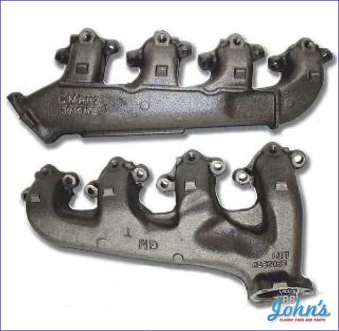 Exhaust Manifolds Bb With Smog. Pair. Gm Licensed Reproduction. (O/s$5) A F2 X F1