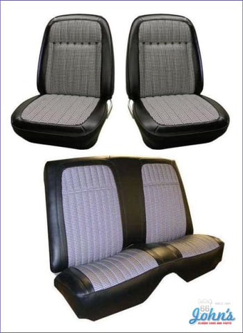 Front And Rear Seat Cover Kit- Convertible With Houndstooth Bucket Seats Deluxe Interior Without