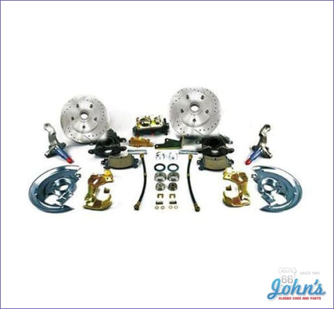 Front Disc Brake Conversion Kit Non-Power With Drilled & Slotted Rotors (Os2) A X F1