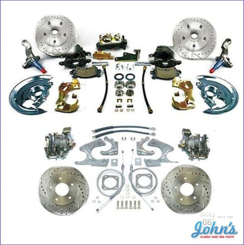 Front & Rear Disc Brake Conversion Kit Non-Power With Staggered Shocks Drilled Slotted Rotors (Os8)