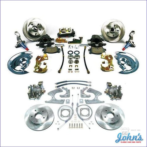Front & Rear Disc Brake Conversion Kit Non-Power Without Staggered Shocks With Standard Rotors.