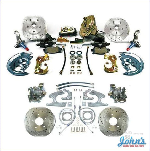 Front & Rear Disc Brake Conversion Kit With 11 Power Booster Staggered Shocks Drilled Slotted Rotors