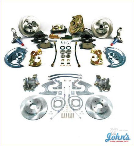 Front & Rear Disc Brake Conversion Kit With 9 Power Booster Staggered Shocks Standard Rotors. (Os8)
