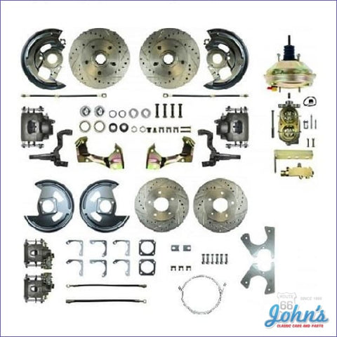 Front &rear Disc Brake Conversion Kit With Power Brakes Drilled & Slotted Rotors. (Os8) X