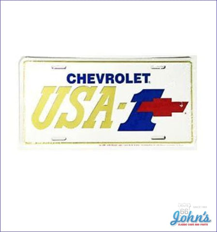 License Plate - Chevrolet Usa-1 Blue 1 With Red Bowtie A F2 X F1