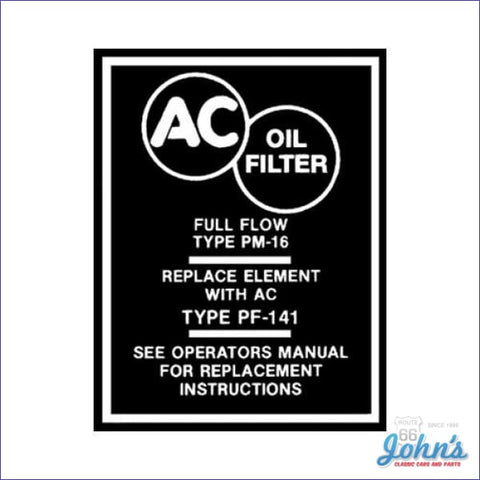 Oil Filter Canister Decal A X F1