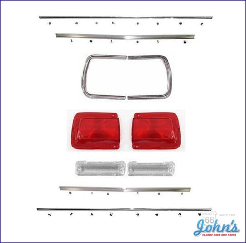 Rear Panel Molding And Bezel Kit With Tail Light Lenses Without Chrome. Includes Backup Lenses.