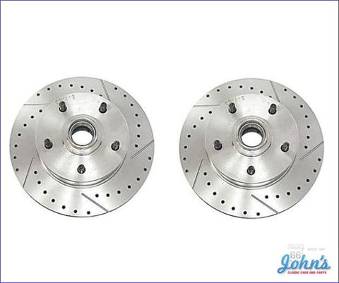 Rotors Front With Single Piston Calipers Drilled And Slotted Replacement For Oe Disc Brakes- Pair