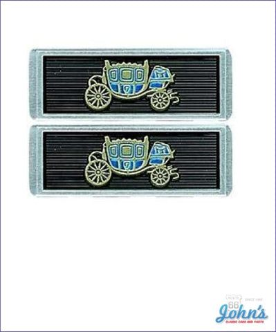 Seat Belt Emblems - Fisher Coach Logo On A Black Background Pair Gm Licensed Reproduction X