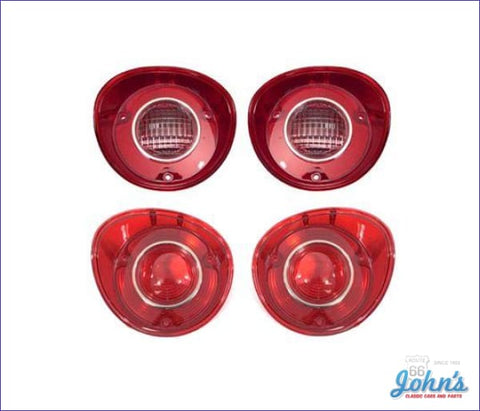 Tail Light And Backup Lens Kit With Chrome Trim Ring. 4 Pc. Gm Licensed Reproduction. A