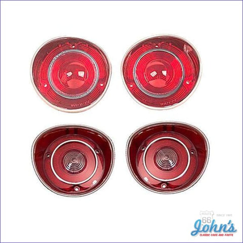Tail Light And Backup Lens Kit With Chrome Trim Ring. 4 Pc. Reproduction. A