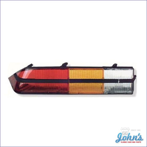 Tail Light Lens Assembly - With Black Center Trim. Standard And Z28. Lh. Gm Licensed Reproduction.