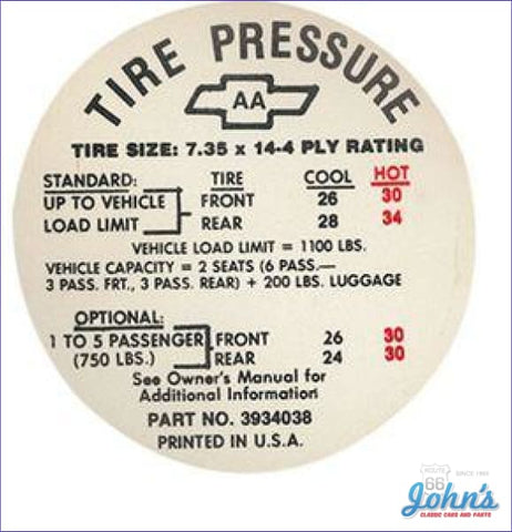 Tire Pressure Decal- 735 X 14 Regular A