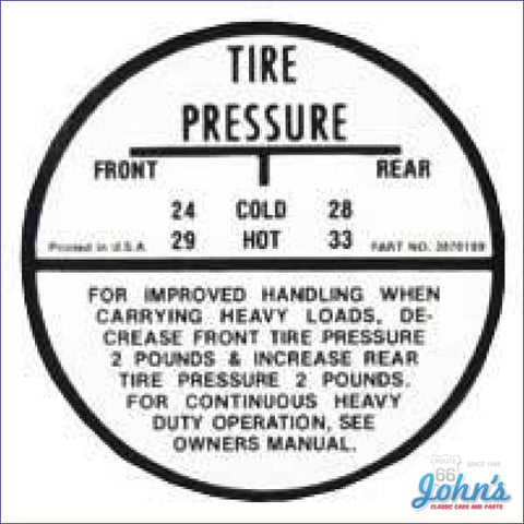 Tire Pressure Decal- Regular A
